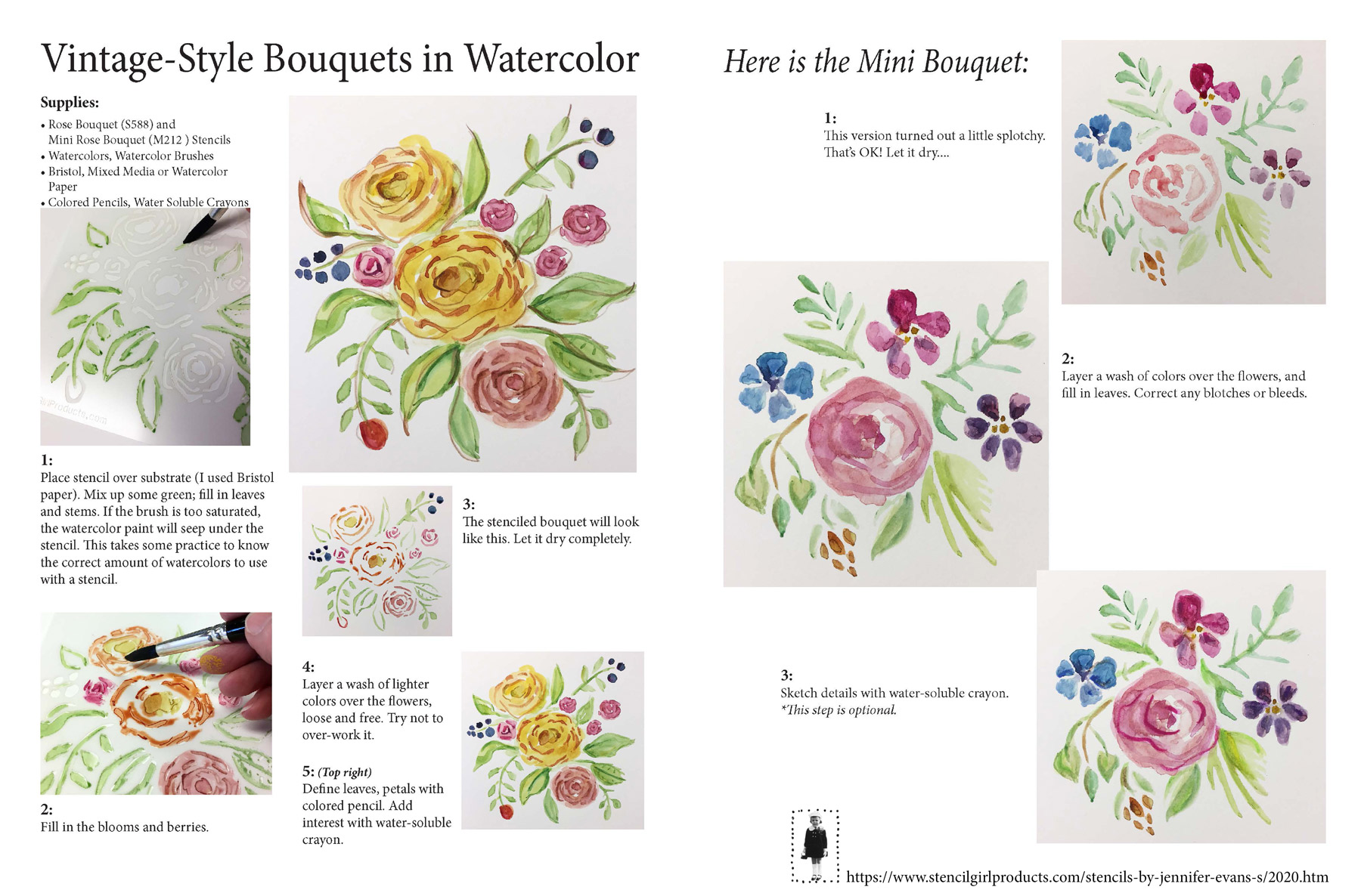 Watercolored and Stenciled Flowers Tutorial by Jennifer Evans