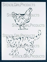Chicken Cat Stencil by Judy Wise