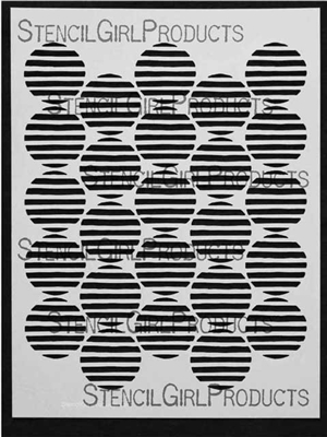 Striped Circles Stencil by Terri Stegmiller