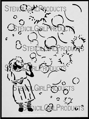 Bubbles Girl Stencil
