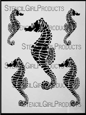Seahorses Stencil by June Pfaff Daley