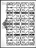 Wrought Iron Gate Stencil by Cecilia Swatton