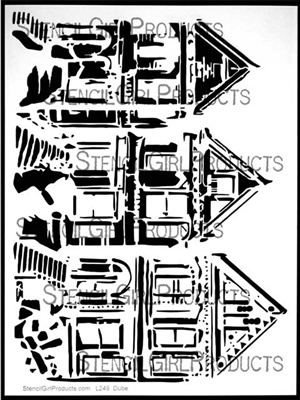 Trio of Houses Stencil by Carolyn Dube