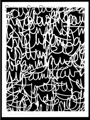 scribble scratch handwriting stencil by carolyn dube