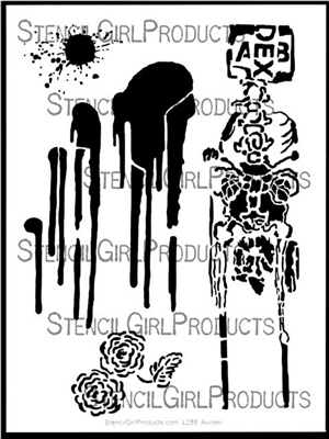 Splats, Blooms, and Bones Stencil by Orly Avineri