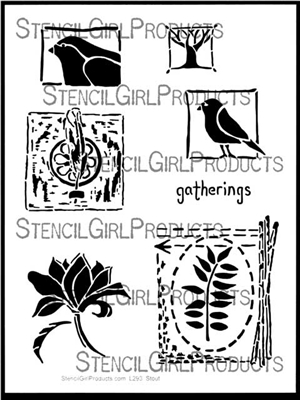 Nature's Gatherings Stencil by Roxanne Evans Stout