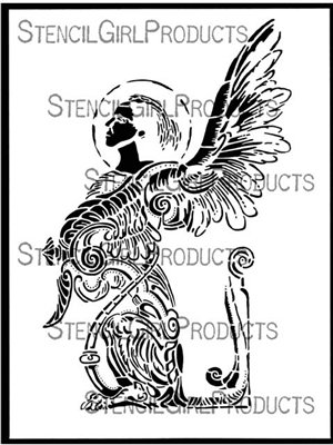 Fractured Angel Stencil by Kate Thompson