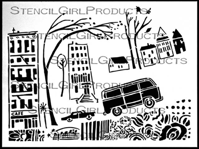 City Stories Stencil by Cathy Nichols
