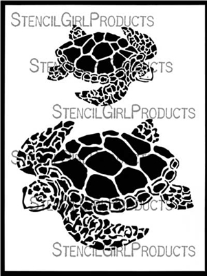 Majestic Sea Turtles Stencil by June Pfaff Daley