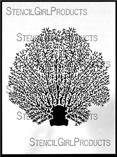 Coral fan stencil june pfaff daley larger photo publicscrutiny Images