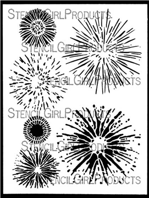 Firework Blasts Stencil by June Pfaff Daley