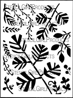 Woodland Leaves Stencil by Jennifer Evans