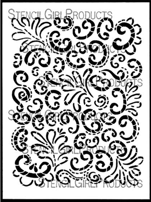 Curlicue Floral Stencil by Janet Joehlin