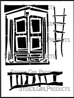 Block Door Climbing and Purpose Ladders Stencil by Angela Cartwright