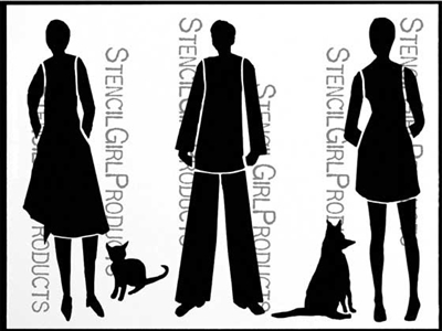 Folks with Pets Stencil by Angela Cartwright