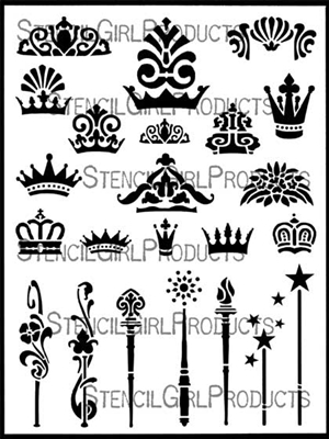 Crowns and Scepters Stencil by June Pfaff Daley