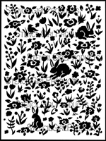 Scattered Bunnies, Blooms, & Birds Background Stencil by Margaret Peot