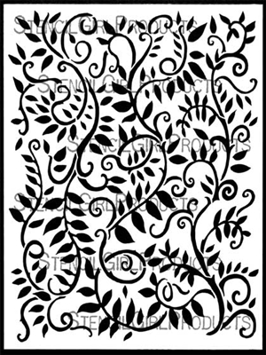Looping Leafy Vines Background Stencil by Margaret Peot