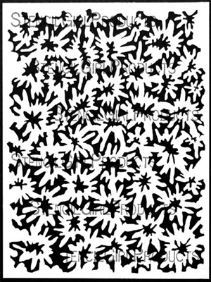 Woodcut Blossoms Background Inverted Stencil by Margaret Peot
