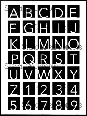 Hip to Be Square Alphabet Large Stencil by Carolyn Dube