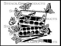 Paint Tin and Butterflies Stencil by Cathy Taylor
