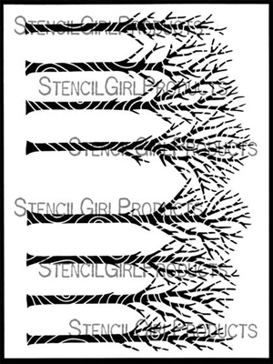 Winter Trees Bark Stencil by Valerie Sjodin