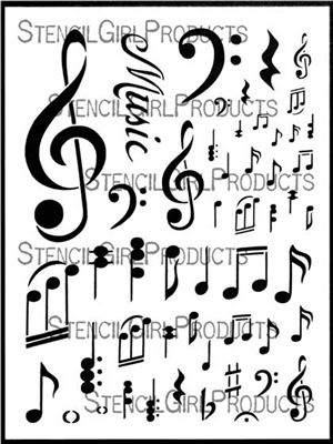 Music Notations Stencil by Valerie Sjodin