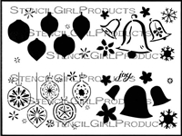 Bells and Ornaments Greeting Card Set Stencil by Jennifer Evans