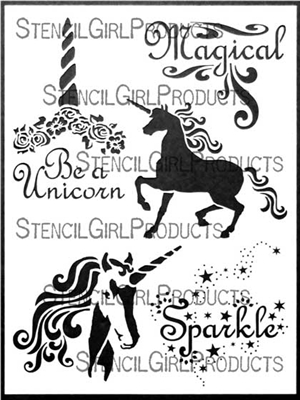 Unicorn Magic Stencil by June Pfaff Daley