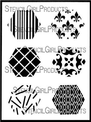 Hexagons Mini Printmaking Stencil Set 1 by Ann Butler