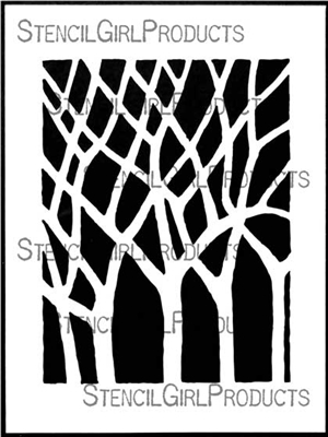 Bare Trees Stencil by Roxanne Evans Stout
