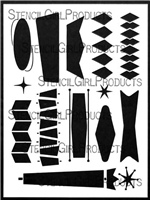 Mid Century Modern Banners Stencil by Valerie Sjodin
