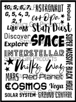 Space Words Stencil by Cat Kerr