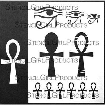 Egyptian Ankh Stencil with Ankh Mask by Carolyn Dube