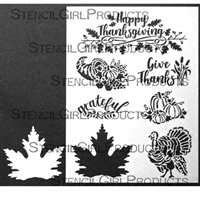 Thanksgiving Stencil with Leaf Mask by June Pfaff Daley