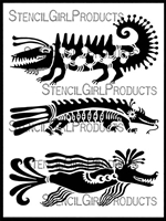 Three Swamp Monsters Stencil by Angela Treat Lyon