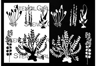 Botanical Wildflowers Stencil with Masks by Rae Missigman