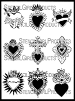 Sacred Hearts ATC Mixup Stencil by Laurie Mika