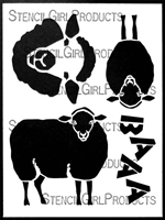 Whimsy Ewes Stencil by Lanie Frick