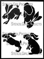 Four Bunnies in Motion Stencil by Lanie Frick