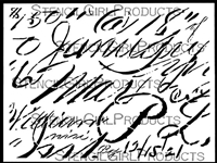 Vintage Ledger Script Large Stencil by Jennifer Evans