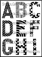 ATC Mixup Alphabet Pattern Stencil A through I by Ann Barnes