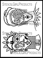 Boho Faces Stencil by Gwen Lafleur