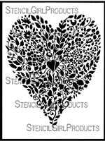 Floral Heart Stencil by Margaret Peot