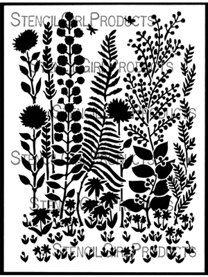 Tall Flowers Stencil by Margaret Peot