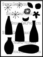 Retro Vases and Blooms Stencil by Lucie Duclos