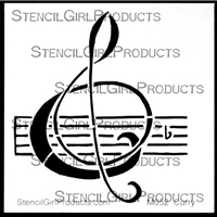 B Flat Clef Mini Stencil by Nancy Curry