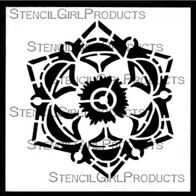 Decorative 6 Petal Flower Stencil by Gwen Lafleur