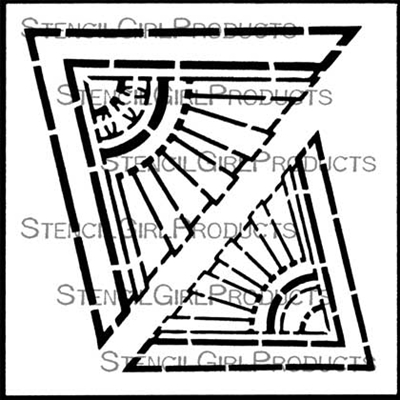 Art Deco Sunburst Corners Stencil by Gwen Lafleur