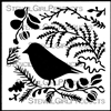 Woodland Blackbird Stencil by Jennifer Evans